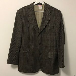 VINTAGE WOOL BROWN PLAID SUIT JACKET BLAZER 38S